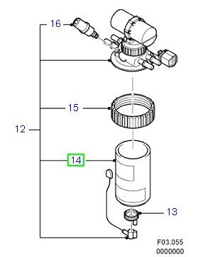 Element for fuel filter, 6""